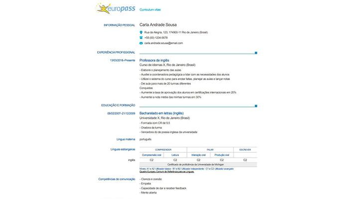 currículo no padrão europeu modelo europass